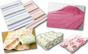 色々な毛布。ポリエステル・アクリル・マイクロマティーク・岩盤浴など